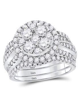 14kt White Gold Womens Round Diamond 3-Piece Bridal Wedding Engagement Ring Band Set 2-1/2 Cttw