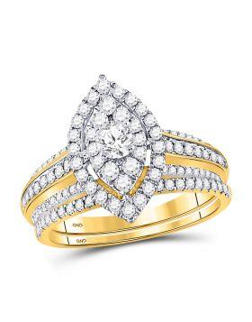 14kt Yellow Gold Womens Round Diamond Oval Bridal Wedding Ring Set 1.00 Cttw