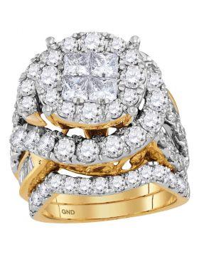 14kt Yellow Gold Womens Princess Diamond Bridal Wedding Engagement Ring Band Set 5-5/8 Cttw