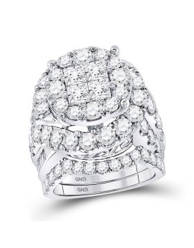 14kt White Gold Womens Princess Diamond Bridal Wedding Engagement Ring Band Set 5-5/8 Cttw