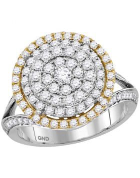 14kt Two-tone Gold Womens Round Diamond Concentric Circle Cluster Ring 1-3/8 Cttw