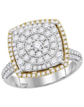 14kt Two-tone Gold Womens Round Diamond Square Cluster Ring 1-3/8 Cttw