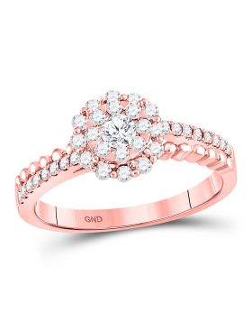 14kt Rose Gold Womens Round Diamond Solitaire Beaded ridal Wedding Engagement Ring 1/2 Cttw