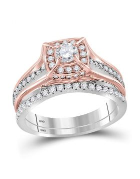 14kt Two-tone Gold Womens Round Diamond Elevated Bridal Wedding Engagement Ring Band Set 1.00 Cttw
