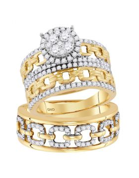 14kt Yellow Gold His Hers Round Diamond Cluster Matching Bridal Wedding Ring Band Set 1-3/8 Cttw