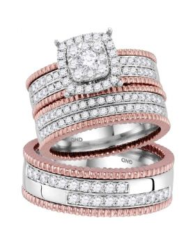 14kt Two-tone Gold His & Hers Round Diamond Cluster Matching Bridal Wedding Ring Band Set 1-1/2 Cttw