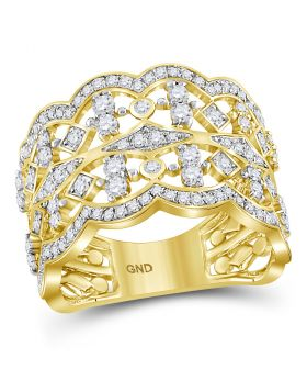 14kt Yellow Gold Womens Round Diamond Square Dot Symmetrical Band Ring 1.00 Cttw