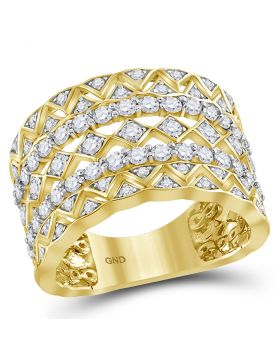14kt Yellow Gold Womens Round Diamond Zigzag Chevron Symmetrical Band Ring 1-1/5 Cttw