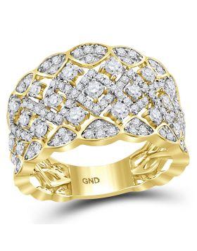 14kt Yellow Gold Womens Round Diamond Symmetrical Zigzag Chevron Band Ring 1-1/5 Cttw