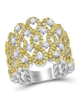14kt White Gold Womens Round Yellow Diamond Infinity Twist Cocktail Ring 1-3/4 Cttw