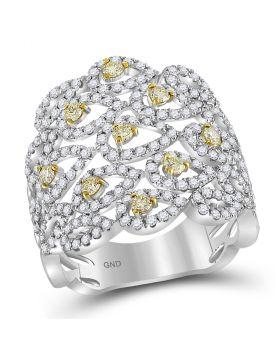 14kt White Gold Womens Round Yellow Diamond Studded Teardrop Pattern Ring 1-1/2 Cttw