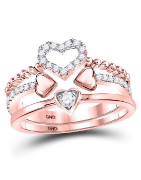 14kt Rose Gold Womens Round Diamond 2-Piece Beaded Heart Band Ring Set 1/3 Cttw