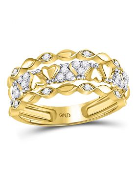 14kt Yellow Gold Womens Round Diamond Open Strand Heart Band Ring 1/3 Cttw