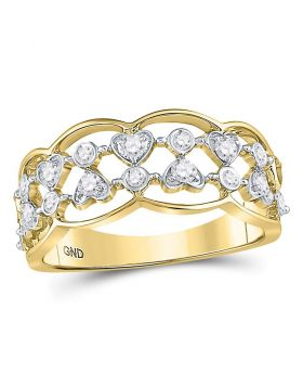 14kt Yellow Gold Womens Round Diamond Double Row Heart Dot Band Ring 1/3 Cttw