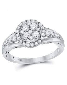 14kt White Gold Womens Round Diamond Cluster Bridal Wedding Engagement Ring 3/4 Cttw