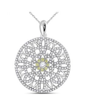 14kt White Gold Womens Round Diamond Concentric Sunburst Circle Pendant 1.00 Cttw