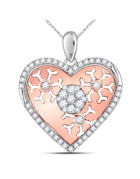 14kt Two-tone Gold Womens Round Diamond Heart Cluster Burst Pendant 1/2 Cttw