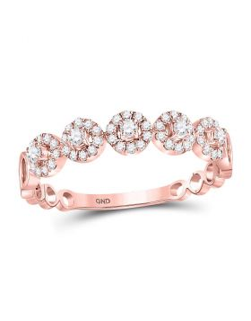 10kt Rose Gold Womens Round Diamond Circle Dot Stackable Ring 1/3 Cttw