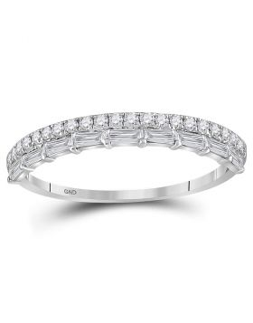 10kt White Gold Womens Round Baguette Diamond Stackable Band Ring 3/8 Cttw