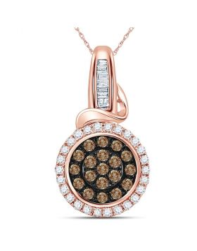 14kt Rose Gold Womens Round Brown Color Enhanced Diamond Circle Cluster Pendant 3/8 Cttw