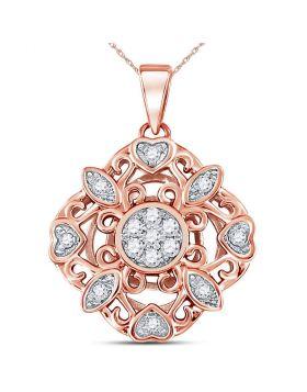 14kt Rose Gold Womens Round Diamond Diagonal Square Heart Cluster Pendant 1/4 Cttw