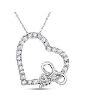 14kt White Gold Womens Round Diamond Heart Bow Pendant 1/4 Cttw