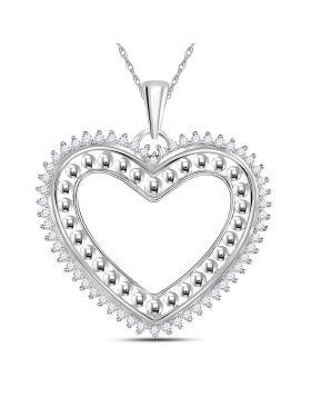 14kt White Gold Womens Round Diamond Beaded Heart Pendant 1/4 Cttw