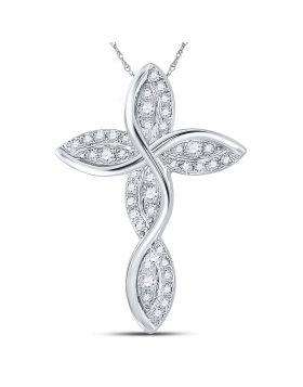 14kt White Gold Womens Round Diamond Contoured Wavy Cross Pendant 1/6 Cttw