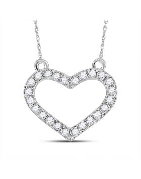 Sterling Silver Womens Round Diamond Heart Pendant Necklace 1/6 Cttw