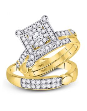 14kt Yellow Gold His & Hers Round Diamond Solitaire Matching Bridal Wedding Ring Band Set 1.00 Cttw