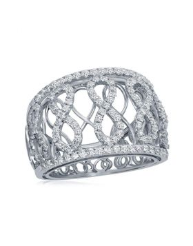 14kt White Gold Womens Round Diamond Vertical Infinity Fashion Band Ring 7/8 Cttw
