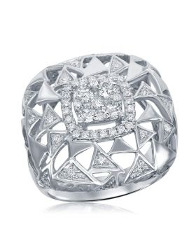 14kt White Gold Womens Round Diamond Geometric Triangle Cocktail Ring 1.00 Cttw