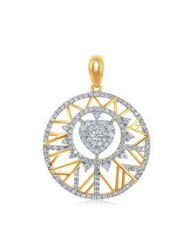 14kt Yellow Gold Womens Round Diamond Circle Heart Pendant 5/8 Cttw