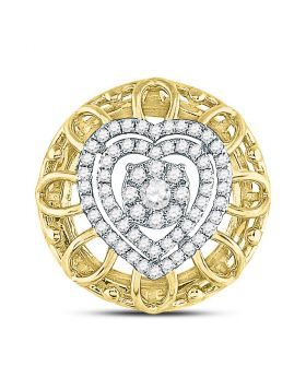 14kt Two-tone Gold Womens Round Diamond Circle Heart Pendant 1/3 Cttw