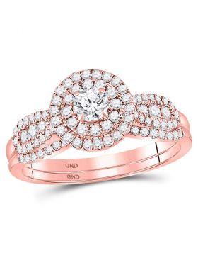 14kt Rose Gold Womens Round Diamond Halo Bridal Wedding Engagement Ring Band Set 3/4 Cttw