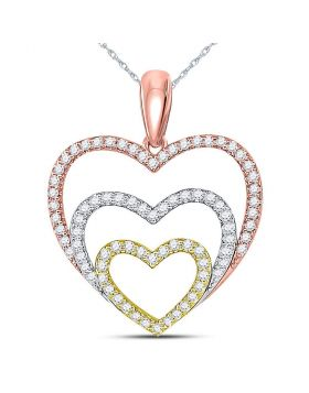10kt Tri-Tone Gold Womens Round Diamond Triple Nested Heart Pendant 1/3 Cttw