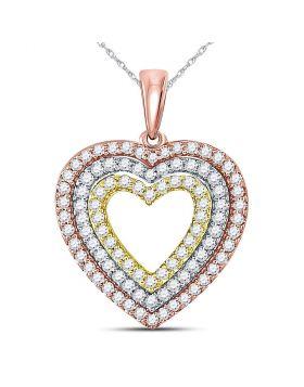 10kt Tri-Tone Gold Womens Round Diamond Triple Heart Pendant 1/2 Cttw
