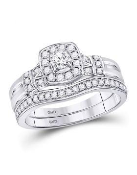 14kt White Gold Womens Round Diamond Square Bridal Wedding Engagement Ring Band Set 1/2 Cttw