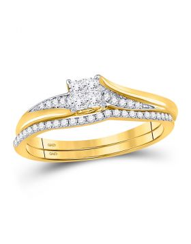 14kt Yellow Gold Womens Princess Diamond Cluster Bridal Wedding Engagement Ring Band Set 1/3 Cttw