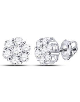 14kt White Gold Womens Round Diamond Flower Cluster Earrings 2.00 Cttw
