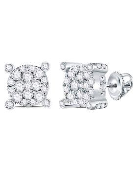 14kt White Gold Womens Round Diamond Corner Cluster Earrings 1/2 Cttw