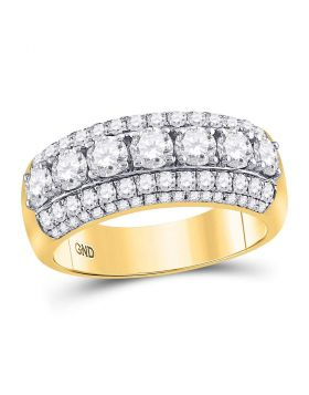 14kt Yellow Gold Womens Round Diamond Triple Row Band Ring 2.00 Cttw