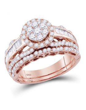 14kt Rose Gold Womens Round Diamond Flower Cluster Bridal Wedding Engagement Ring Band Set 1-1/3 Cttw