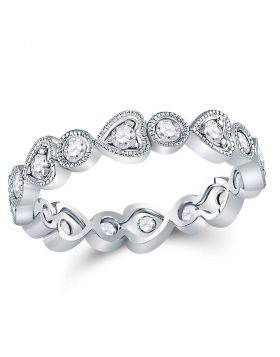 10kt White Gold Womens Round Diamond Heart Eternity Band Ring 3/8 Cttw