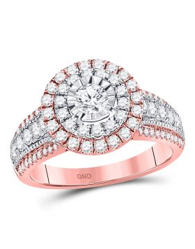 14kt Rose Gold Womens Round Diamond Solitaire Bridal Wedding Engagement Ring 1-1/4 Cttw