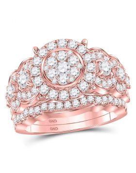14kt Rose Gold Womens Round Diamond Vintage-inspired Bridal Wedding Engagement Ring Band Set 2.00 Cttw