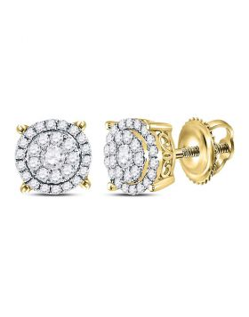 14kt Yellow Gold Womens Round Diamond Circle Frame Cluster Earrings 1/2 Cttw