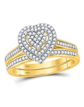 10kt Yellow Gold Womens Diamond Heart Bridal Wedding Engagement Ring Set 1/3 Cttw