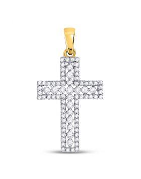 14kt Yellow Gold Womens Round Diamond Cross Faith Pendant 1/2 Cttw