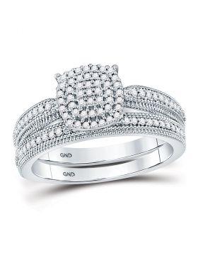 10kt White Gold Womens Round Diamond Milgrain Bridal Wedding Ring Set 1/3 Cttw